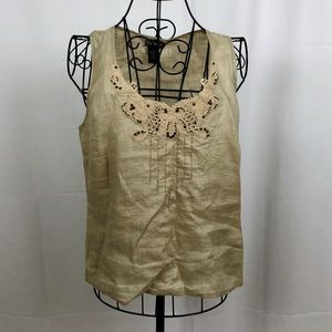 Rafaella Linen tank beaded lace neckline 6